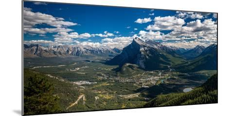 Aerial view of Banff town and Mount Rundle, Banff National Park, Alberta, Canada--Mounted Photographic Print