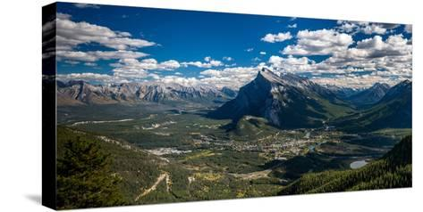 Aerial view of Banff town and Mount Rundle, Banff National Park, Alberta, Canada--Stretched Canvas Print