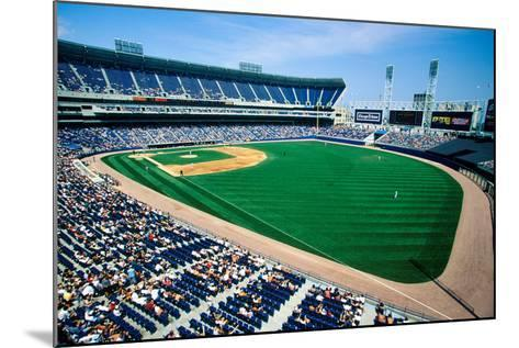 Long view of Baseball diamond and bleachers during professional Baseball Game, Comiskey Park, Il...--Mounted Photographic Print