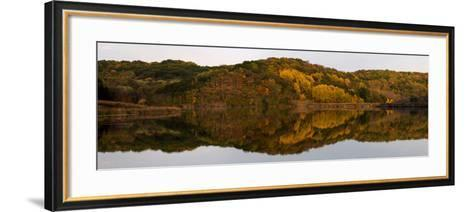 Autumn foliage reflected in a small lake in central Wisconsin, USA--Framed Art Print