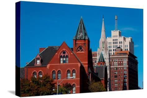 Skyline and church on Grand Avenue, St. Louis, Mo.--Stretched Canvas Print