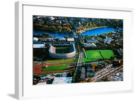 Aerial View of Soldiers Field, home of Harvard Crimson, Harvard, Cambridge, Boston, MA--Framed Art Print