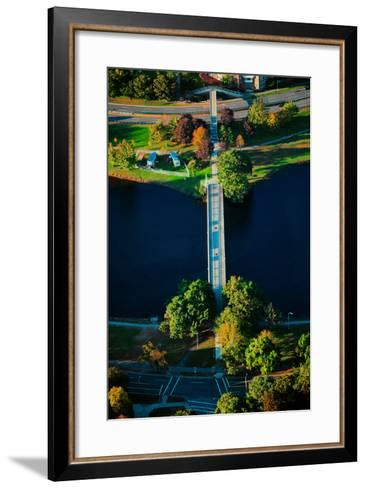 Aerial View of bridge across Charles River, Boston, MA--Framed Art Print