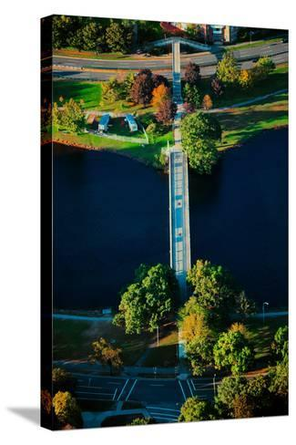 Aerial View of bridge across Charles River, Boston, MA--Stretched Canvas Print