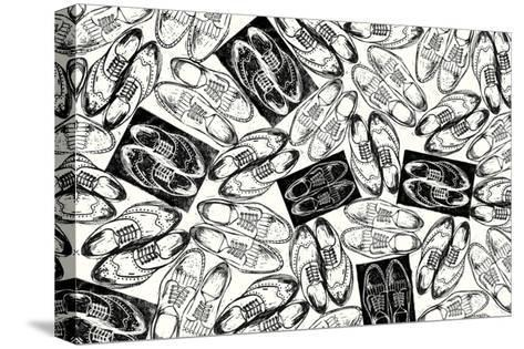 Scattered Mens Shoes-THE Studio-Stretched Canvas Print