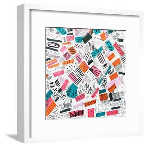 Pink Orange Abstract Drawing-Melanie Biehle-Framed Art Print