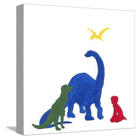 Dinosaur Dreaming-Millie Brooks-Stretched Canvas Print