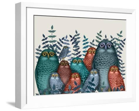 Electric Owls, Blue and Orange-Fab Funky-Framed Art Print
