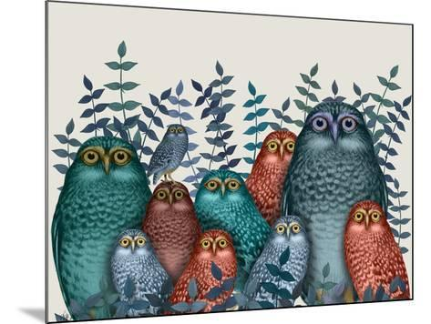 Electric Owls, Blue and Orange-Fab Funky-Mounted Giclee Print