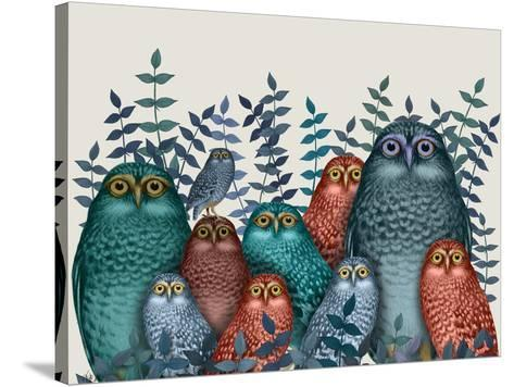 Electric Owls, Blue and Orange-Fab Funky-Stretched Canvas Print