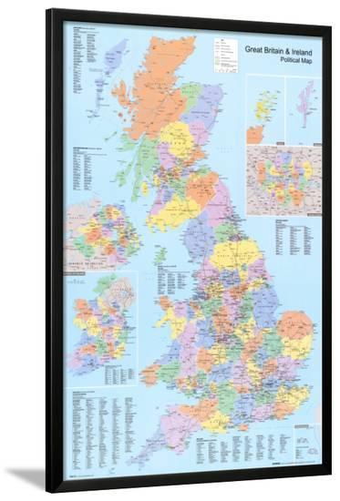 U.K. Political Map--Lamina Framed Poster