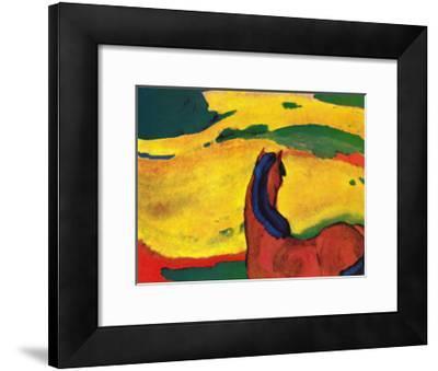 Pferd in Landschaft-Franz Marc-Framed Art Print
