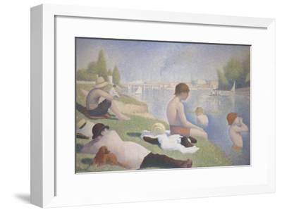 Bathers at Asnieres-Georges Seurat-Framed Art Print