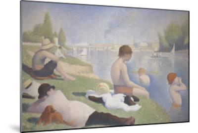 Bathers at Asnieres-Georges Seurat-Mounted Art Print