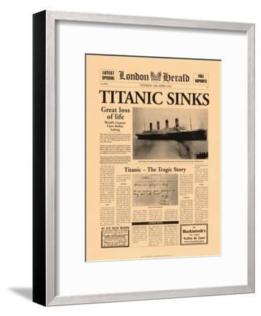 Titanic Sinks-The Vintage Collection-Framed Art Print