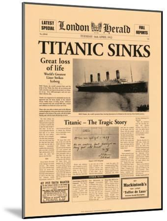 Titanic Sinks-The Vintage Collection-Mounted Art Print
