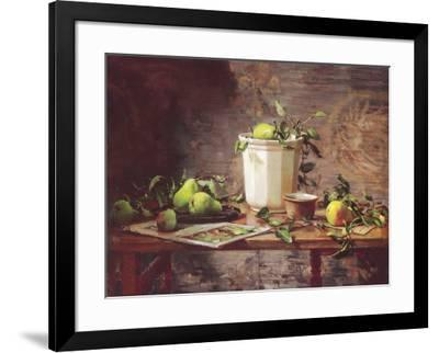 Pears and Tapestry-Del Gish-Framed Art Print