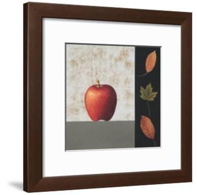 Red Apple and Leaves-John Boyd-Framed Art Print