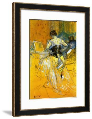 Femme Mettant Son Corset-Henri de Toulouse-Lautrec-Framed Art Print