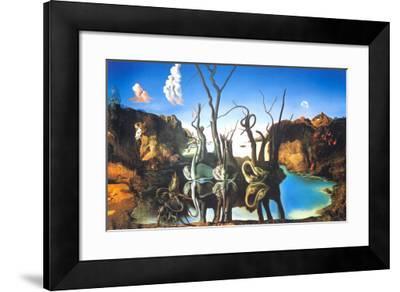 Reflections of Elephants-Salvador Dal?-Framed Art Print