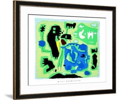 Komposition in Grun, c.1954-Willi Baumeister-Framed Serigraph
