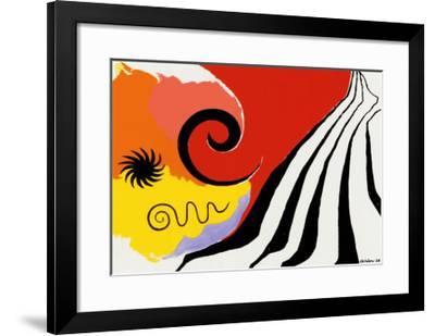 Pinwheel and Flow, c.1958-Alexander Calder-Framed Serigraph