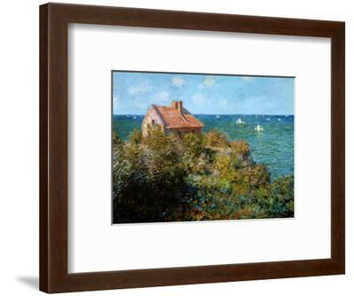 Fisherman's Cottage on the Cliffs at Var-Claude Monet-Framed Art Print