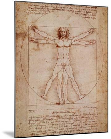 Vitruvian Man, c.1492-Leonardo da Vinci-Mounted Art Print