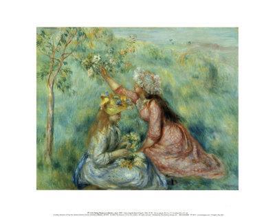 Girls Picking Flowers in a Meadow-Pierre-Auguste Renoir-Art Print