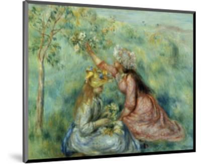 Girls Picking Flowers in a Meadow-Pierre-Auguste Renoir-Mounted Art Print