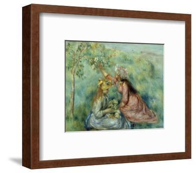Girls Picking Flowers in a Meadow-Pierre-Auguste Renoir-Framed Art Print