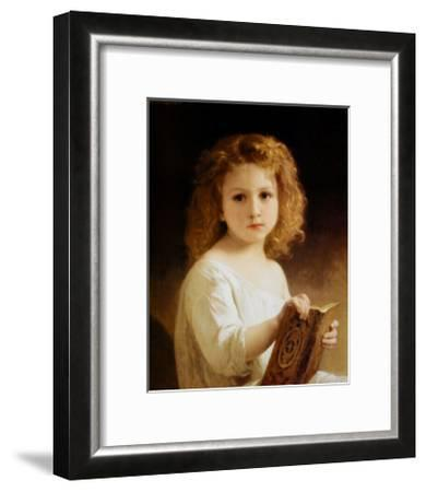 Story Book-William Adolphe Bouguereau-Framed Art Print