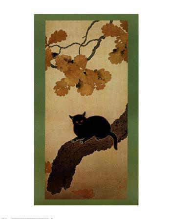 Black Cat-Shunso Hishida-Art Print