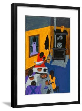 This Is a Family Living in Harlem, 1943-Jacob Lawrence-Framed Art Print