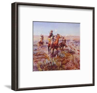 Smokin' 'Em Out-Charles Marion Russell-Framed Art Print