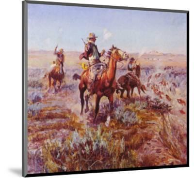 Smokin' 'Em Out-Charles Marion Russell-Mounted Art Print