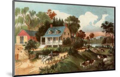 American Homestead Summer-Currier & Ives-Mounted Art Print