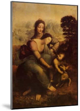 The Virgin and Child with St. Anne-Leonardo da Vinci-Mounted Art Print