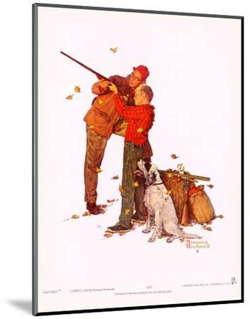 Careful Aim-Norman Rockwell-Mounted Art Print