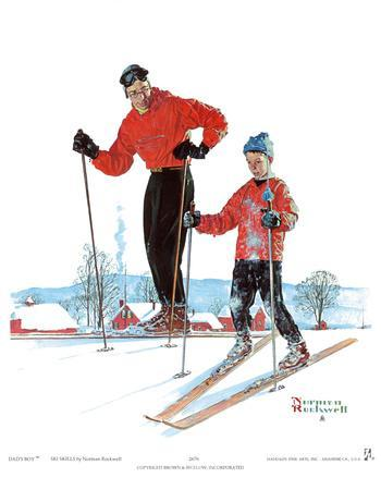 Ski Skills-Norman Rockwell-Art Print