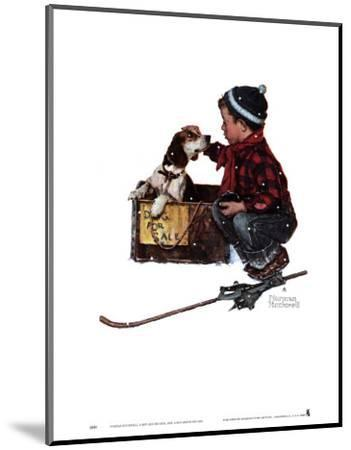 Boy Meets His Dog-Norman Rockwell-Mounted Art Print