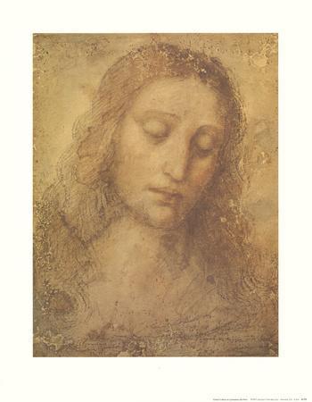 Christ's Head-Leonardo da Vinci-Framed Art Print