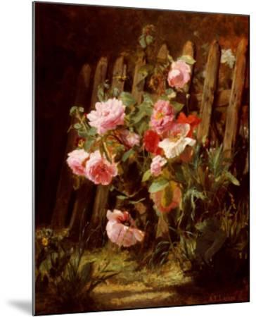 Pink Roses by a Garden Fence-Alfred-Frederic Lauron-Mounted Art Print