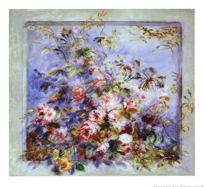 Roses dans une Fenetre-Pierre-Auguste Renoir-Framed Art Print