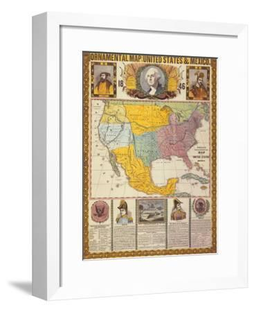 Ornamental Map of the United States and Mexico-Humphrey Phelps-Framed Art Print