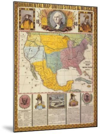 Ornamental Map of the United States and Mexico-Humphrey Phelps-Mounted Art Print