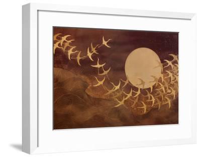 Cranes Over Moon-Keiichi Nishimura-Framed Art Print