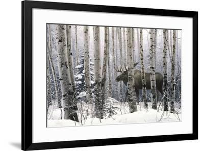 A Walk in the Woods Stephen Lyman Moose Winter Tree Forest Print Poster 14x11