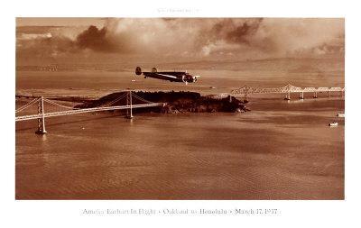 Amelia Earhart in Flight, Oakland to Honolulu, March 17, 1937-Clyde Sunderland-Art Print