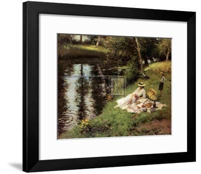 Picnic on the Riverbank-Fernand Toussaint-Framed Art Print